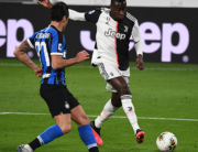 Juventus' French midfielder Blaise Matuidi (R) kicks the ball past Inter Milan's Italian forward Antonio Candreva during the Italian Serie A football match Juventus vs Inter Milan, at the Juventus stadium in Turin on March 8, 2020. Vincenzo PINTO / AFP