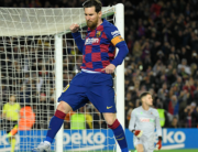 Barcelona's Argentine forward Lionel Messi celebrates after scoring a goal during the Spanish league football match between FC Barcelona and Real Sociedad at the Camp Nou stadium in Barcelona on March 7, 2020. LLUIS GENE / AFP
