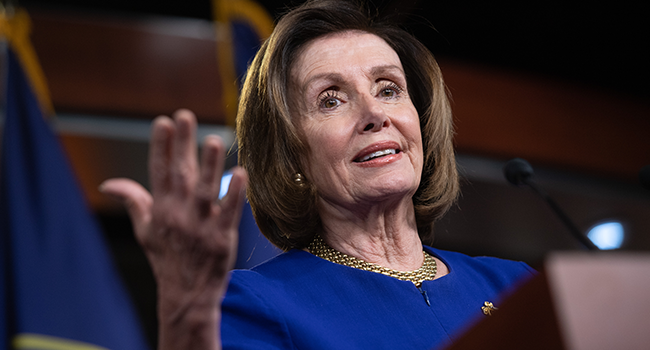 In this file photo taken on March 5, 2020 Speaker of the House Nancy Pelosi speaks during her weekly press conference on Capitol Hill in Washington, DC.  SAUL LOEB / AFP
