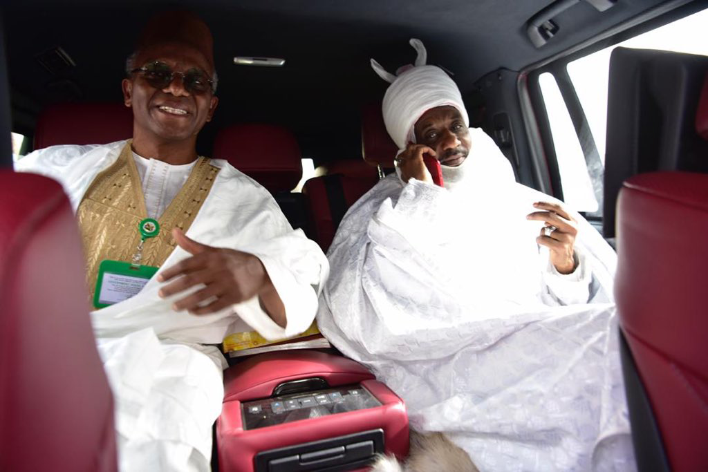 Kaduna State Governor, Nasir El-Rufai sits with deposed Emir of Kano, Muhammadu Sanusi in an automobile on Friday, March 13, 2020. Photo: Kaduna State House / Twitter