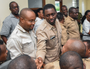 Chadema party leaders stand in the dock at Kisutu resident magistrates court in Dar es Salaam on March 10, 2020. Ericky BONIPHACE / AFP