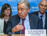 In this file photo taken on February 24, 2020 UN Secretary-General Antonio Guterres speaks during an update on the situation regarding the COVID-19 in the SHOC room (Strategic health operations centre) at the World Health Organization (WHO) headquarters in Geneva. SALVATORE DI NOLFI / POOL / AFP