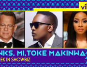 A photo combination of Tom Hanks, MI Abaga and Toke Makinwa created on March 14, 2020.