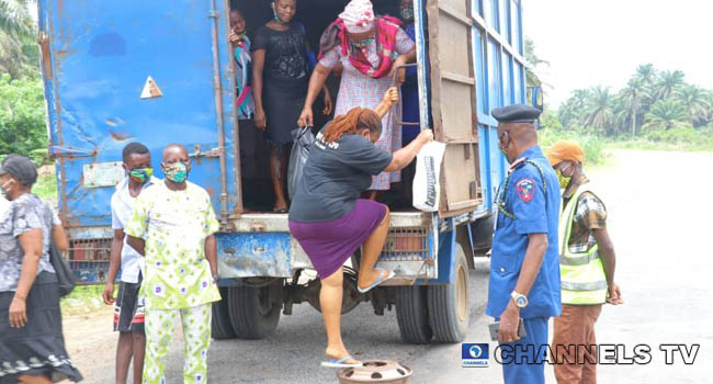PHOTOS: Truck Filled With People Apprehended In Abia Amid COVID-19 Lockdown