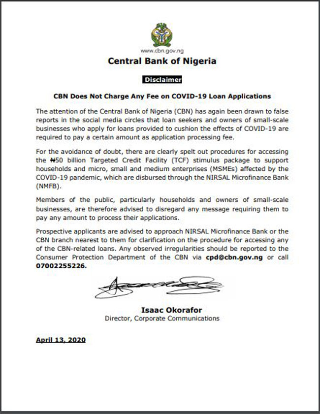 No Processing Fee Required For Covid 19 Loans Cbn Channels Television