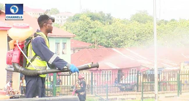 PHOTOS: Ekiti Govt Fumigates Markets, Public Places Amid COVID-19 Lockdown
