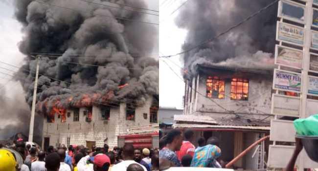 Fire Guts Shops In Dugbe Market, Ibadan