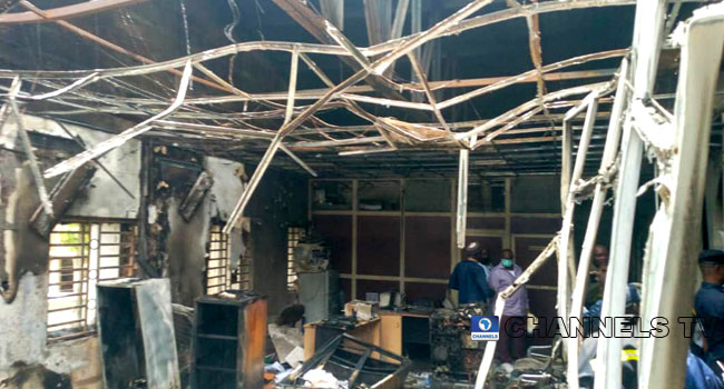 PHOTOS: Documents, Furniture Destroyed By Fire At INEC Head Office