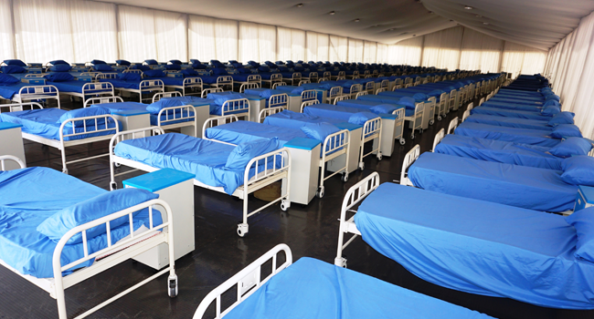 Rows of beds inside the male section at a COVID-19 coronavirus isolation centre at the Sani Abacha stadium in Kano, Nigeria, on April 7, 2020. AMINU ABUBAKAR / AFP
