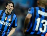 ) In this file photo taken on April 20, 2010 Inter Milan's Brazilian defender Maicon (R) celebrates with teamate Argentinian Diego Milito after scoring against Barcelona during the UEFA Champions League first leg semifinal Inter Milan vs Barcelona football match at San Siro stadium in Milan. Filippo MONTEFORTE / AFP