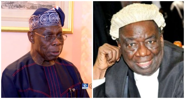 A photo combination of Olusegun Obasanjo and Richard Akinjide created on April 21, 2020.
