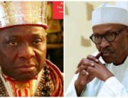 A photo combination of the Olu of Warri, Ogiame Ikenwoli and President Muhammadu Buhari created on April 21, 2020.