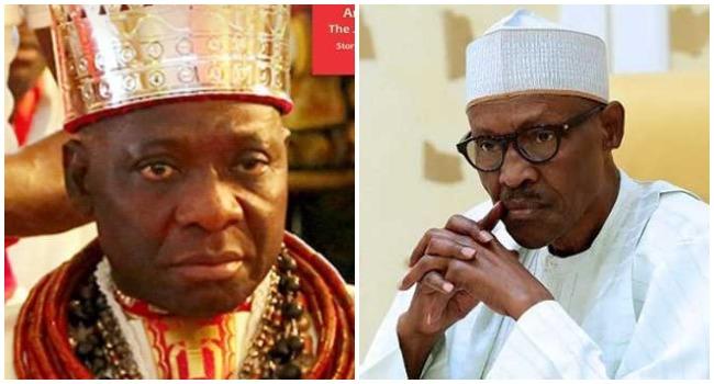 A photo combination of the Olu of Warri, Ogiame Ikenwoli and President Muhammadu Buhari created on April 21, 2020.
