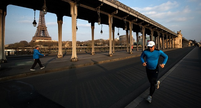 Paris bans daytime jogging as coronavirus deaths in France top 10,000