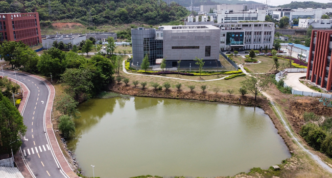 An aerial view shows the P4 laboratory (C) at the Wuhan Institute of Virology in Wuhan in China's central Hubei province on April 17, 2020. Hector RETAMAL / AFP