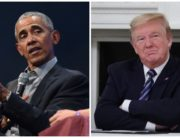 A photo combination created on May 9, 2020 of former US President, Barack Obama and current US President, Donald Trump.