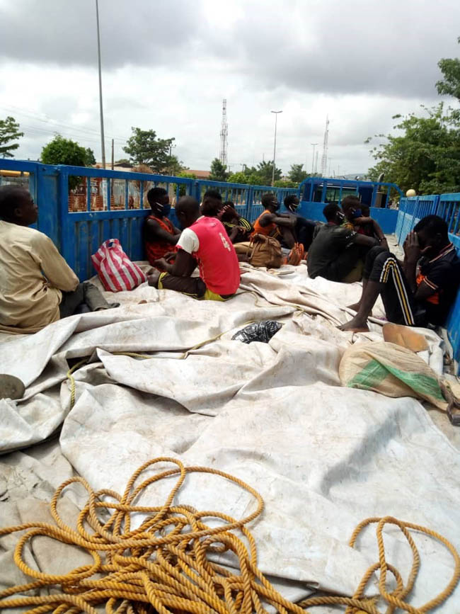 The Ondo FRSC said a truck ferrying 13 young men of 'northern extraction' was intercepted in the capital city, Akure, on May 9, 2020.