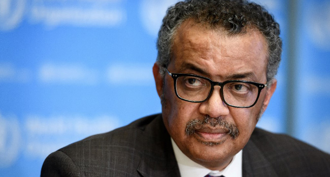 A file photo of World Health Organization (WHO) Director-General Tedros Adhanom Ghebreyesus.