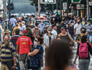 View of a crowded street in Florianopolis, Santa Catarina state, Brazil, on May 12, 2020 amid the Covid-19 coronavirus pandemic. EDUARDO VALENTE / AFP