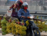 A man rides his motorcycle loaded with bananas in Phnom Penh on May 14, 2020. TANG CHHIN Sothy / AFP