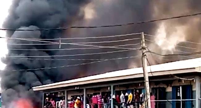 Goods Worth Millions Destroyed As Fire Guts Ogbe-Ogonogo Market In Delta