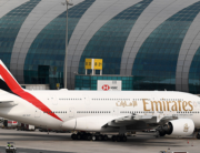 A file photo of an Emirates airline plane. The returning Nigerians are expected to arrive via an Emirates flight.