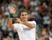 In this file photo taken on February 07, 2020 Switzerland's Roger Federer reacts after his victory against Spain's Rafael Nadal during their tennis match at The Match in Africa at the Cape Town Stadium, in Cape Town. RODGER BOSCH / AFP