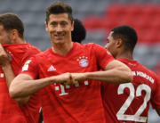 Bayern Munich's Polish forward Robert Lewandowski celebrates the 3-0 during the German first division Bundesliga football match FC Bayern Munich v Fortuna Duesseldorf on May 30, 2020 in Munich, southern Germany. Christof STACHE / AFP / POOL