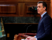 Spanish Prime Minister, Pedro Sanchez gives a speech during a parliamentary plenary session at the Lower Chamber of Spanish Parliament, in Madrid, on May 20, 2020. Andres BALLESTEROS / POOL / AFP