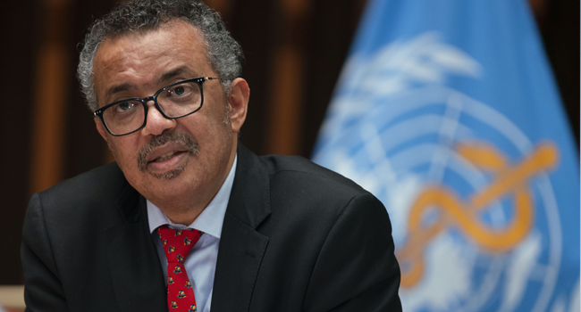 This handout image provided by the World Health Organization (WHO) on May 22, 2020 in Geneva shows WHO Director-General Tedros Adhanom Ghebreyesus attending the 147th session of the WHO Executive Board held virtually by videoconference, amid the COVID-19 pandemic, caused by the novel coronavirus. Christopher Black / World Health Organization / AFP