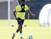 This handout pictured made available by FC Barcelona shows Barcelona's French defender Samuel Umtiti attending a training session at the Ciutat Esportiva Joan Gamper in Sant Joan Despi on May 8, 2020. Miguel RUIZ / FC BARCELONA / AFP