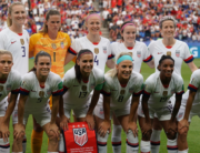 In this file photo taken on June 28, 2019 US players pose ahead of the France 2019 Women's World Cup quarter-final football match between France and USA, at the Parc des Princes stadium in Paris. Lionel BONAVENTURE / AFP