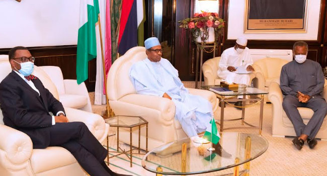 PHOTOS: Buhari, AfDB President Adesina Meet In Abuja