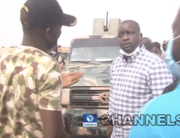 Borno State Deputy Governor, Usman Kadafur (2nd R) confronts a military official on June 13, 2020