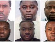 A photo combination of six Nigerians indicted by the United States' FBI for wire fraud