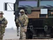 In this file photo taken on March 04, 2020, US soldiers patrol prior to an artillery live fire event by the US Army Europe's 41st Field Artillery Brigade at the military training area in Grafenwoehr, Germany. Christof STACHE / AFP