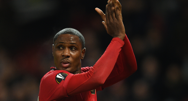 In this file photo taken on February 27, 2020 Manchester United's Nigerian striker Odion Ighalo reacts at the final whistle during the UEFA Europa League round of 32 second leg football match between Manchester United and Club Brugge at Old Trafford in Manchester, north west England, on February 27, 2020.  Oli SCARFF / AFP