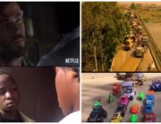 A combination of screenshots created on June 25 from the Ikorodu Bois remake of Netflix's Extraction film trailer.