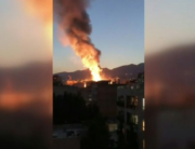 An image grab from footage obtained from the state-run Iran Press news agency on June 30, 2020, shows footage of a powerful explosion at a clinic in northern Tehran. IRAN PRESS / AFP