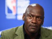 In this file photo taken on January 24, 2020 former NBA star and owner of Charlotte Hornets team Michael Jordan looks on as he addresses a press conference ahead of the NBA basketball match between Milwaukee Bucks and Charlotte Hornets at The AccorHotels Arena in Paris. FRANCK FIFE / AFP
