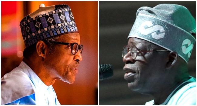 A photo combination of President Muhammadu Buhari and Bola Ahmed Tinubu.