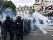 French riot police clash with protesters during a rally as part of the 'Black Lives Matter' worldwide protests against racism and police brutality, on Place de la Republique in Paris on June 13, 2020. Anne-Christine POUJOULAT / AFP