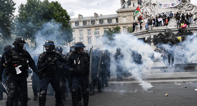 French Protesters Clash With Police At Anti-Racism Rallies
