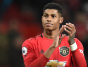 In this file photo taken on December 01, 2019 Manchester United's English striker Marcus Rashford applauds supporters on the pitch after the English Premier League football match between Manchester United and Aston Villa at Old Trafford in Manchester, north west England, on December 1, 2019. Oli SCARFF / AFP