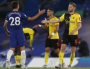 Chelsea's Spanish defender Cesar Azpilicueta (L) and Watford's English mifielder Tom Cleverley after the English Premier League football match between Chelsea and Watford at Stamford Bridge in London on July 4, 2020. (Photo by MATTHEW CHILDS / POOL / AFP) /
