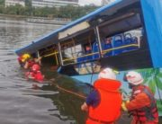 A bus carrying students to their annual college entrance exam plunged into a lake in southwest China