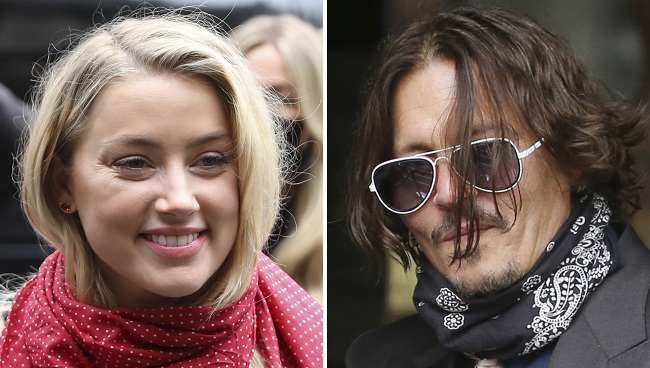 "A combination of pictures shows US actress Amber Heard (L) and her former husband US actor Johnny Depp (R) arriving on the second day of Depp's libel action against News Group Newspapers (NGN), at the High Court in London, on July 8, 2020. - Depp is suing the publishers of The Sun and the author of the article for the claims that called him a ""wife-beater"" in April 2018. (Photo by ISABEL INFANTES / AFP)"