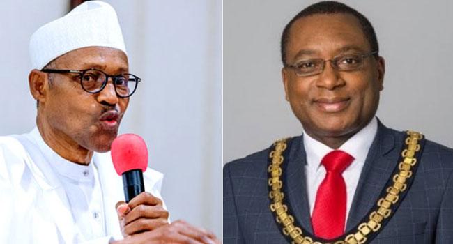 A photo collage of President Muhammadu Buhari and Professor Charles Egbu.