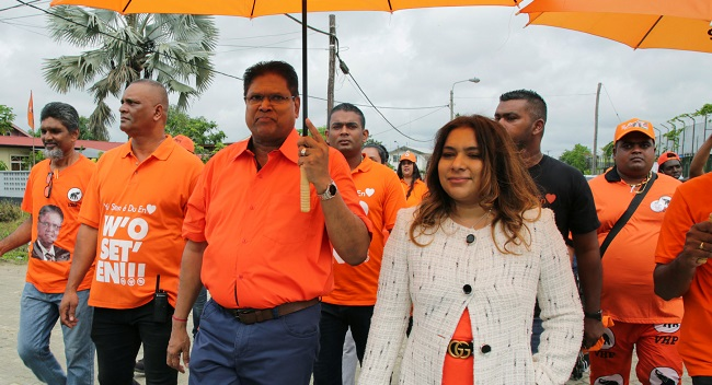 Chan Santokhi and his wife, Melissa Seenacherry. The former police chief was elected president by Suriname's Congress following a landslide opposition victory in May.