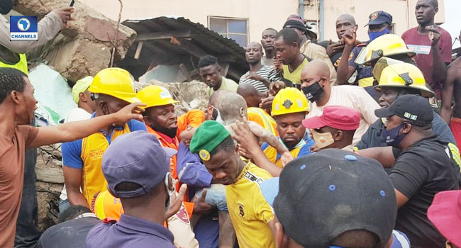 UPDATE: Three Dead, Nine Rescued In Lagos Building Collapse